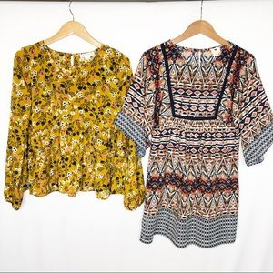 Lot of 2 Size Small boho career tops kimono tunic